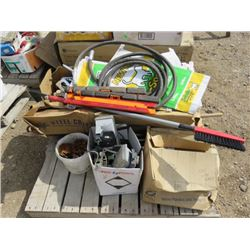 LOT OF SHOP SUPPLIES (STAPLE GUNS, PROPANE TANKS, LIGHTS, HYDRALIC HOSES, ROAD SIGNS, ETC)