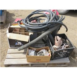 LOT OF MISC TOOLS (PUMP HOSE, FUEL PUMP HOSE, TOOL BOX, PIPE WRENCHES, PLUMBING SUPPLIES, VACUUM, ET