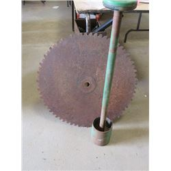 """WOOD SAW BLADE WITH BRACKET ASSEMBLY (BLADE SHARPENED AND MANDREL) *27"""" BLADE DIAMETER*"""