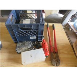 LOT OF MISC ITEMS (BOLT CUTTER, AIR REGULATOR, MOBILE VEHICLE LIGHT, COTTER PINS & O RINGS)