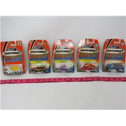 LOT OF 5 MATCHBOX CARS (HERO CITY) *LAND ROVER 90, WAVE RUNNER, RUMBLE DOZER, ETC)