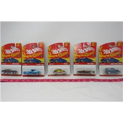 LOT OF 5 HOT WHEELS TOY CARS (1963 CORVETTE, 1963 T-BIRD, ANGLIA PANEL TRUCK VW BUG & '52 CHEVY TRUC