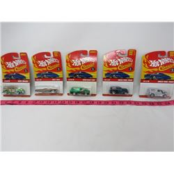LOT OF 5 HOT WHEELS TOY CARS (1963 T-BIRD, 1940'S WOODIE, 2 X ANGLIA PANEL TRUCK, 1956 FORD F100)