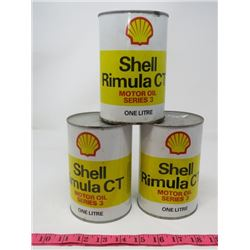 LOT OF 3 MOTOR OIL CANS (SHELL) *FULL* (1 LITRE)