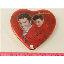"ELVIS COLLECTOR TIN (RUSSEL STOVER) *HEARTSHAPED* (6"" X 7"")"
