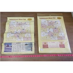 "LOT OF 2 CALENDARS (VINTAGE) *SASKATCHEWAN WHEAT POOL* (1965 & 1980) *ONE FOLDED* (22"" X 15.76"")"