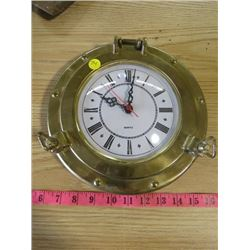 BRASS CLOCK (APPROXIMATLY 10 INCH DIAMETER)