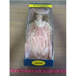 """PORCELAIN DOLL (MY FIRST COLLECTION """"AMANDA"""") *16""""* (WITH DISPLAY STAND)"""