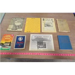 LOT OF 8 BOOKS (MACLEODS 1942 CATALOGUE, 2 X ALMANACS 1939, 2002, FARM AND HOME MECHANICS GUIDE 1943