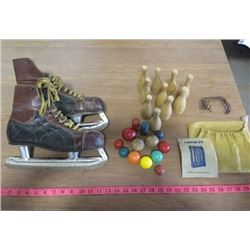 LOT OF VINTAGE SPORTS EQUIPMENT (MEN'S SKATES, PARTIAL WOOD CROQUET SET WITH BAG)