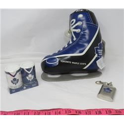 LOT OF 3 TORONTO MAPLE LEAF ITEMS (STUFFED SKATE, SALT AND PEPPER SHAKERS AND KEY CHAIN FLASK)
