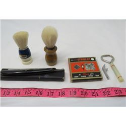 LOT OF COLLECTIBLES (2 X SHAVING BRUSHES, STRAIGHT RAZOR, SEWING KIT AND 2 X BOTTLE OPENERS)