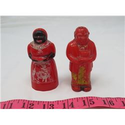 SALT AND PEPPER SHAKERS (VINTAGE) *AFRICANA* (PLASTIC)