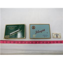 LOT OF 3 CIGARETTE ITEMS (2 X TINS, WOODEN MATCHES)