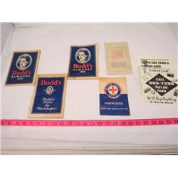 LOT OF PAPER COLLECTIBLES ( 2 X DODD'S ALMANAC 1945-1946) *CANADIAN VEHICLE PERMIT-1955* (DODD'S HEL