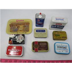 LOT OF MISC TINS (LOZENGE, BAND AIDS, SMALL TRAY, DISNEY SOAP)