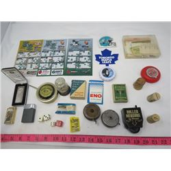 LOT OF JUNK DRAWER ITEMS ( 3 X LIGHTERS, MEASURING TAPES, CORKS, FLINTS, COUPONS, ETC…)