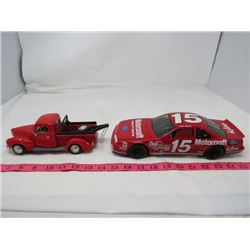 LOT OF 2 DIE CAST TOYS ( TOW TRUCK, T-BIRD RACE CAR)