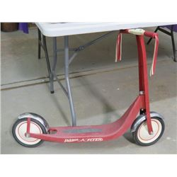 """RADIO FLYER SCOOTER (CHROME FENDERS) *37"""" LONG X 19"""" HIGH* (VINTAGE)"""