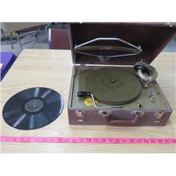 RECORD PLAYER (VINTAGE) *RCA, IN CASE* ( INCLUDES RECORD)