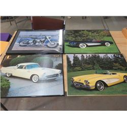 """LOT OF 4 VEHICLE PICTURES (IN FRAMES) *20"""" X 15.5""""*"""