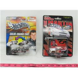 LOT OF 2 COLLECTOIR CARS (HOT WHEELS, RACING CHAMPIONS) *NASCAR-COLOR CHANGES*