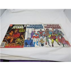 LOT OF 3 COMIC BOOKS (TALES OF TEEN TITANS-1988, MARVEL UPDATE-1989, MARVEL UNIVERSE-1998)