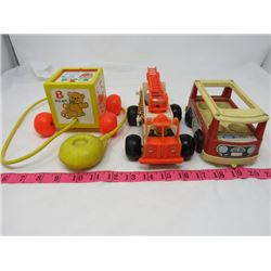 LOT OF 3 FISHER PRICE TOYS (1960'S)