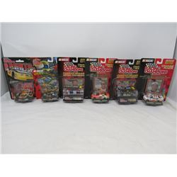 LOT OF 5 RACING CHAMPION DIE CAST TOYS WITH DRIVERS CARDS ( 1 HAS NO CARD)