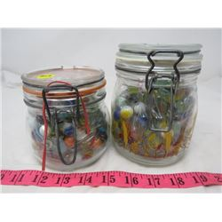 2 CANNING JARS FULL OF MARBLES