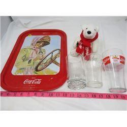 LOT OF COCA-COLA ITEMS ( 5 CUPS, 1 TRAY, 1 STUFFED POLAR BEAR, 1 SHELL CUP)