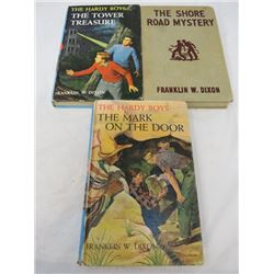 LOT OF 3 FRANKLIN W. DIXON BOOKS (THE SHORE ROAD MYSTERY, THE TOWER TREASURE AND THE MARK ON THE DOO