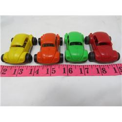 LOT OF 4 MINI BUGGY CARS (YELLOW, ORANGE, RED AND GREEN)