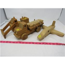 LOT OF 3 WOOD TOYS (BULLDOZER, PLANE, HAULER)