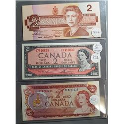 LOT OF 3-2 DOLLAR BILLS (1954, 74, 86) (CANADA)