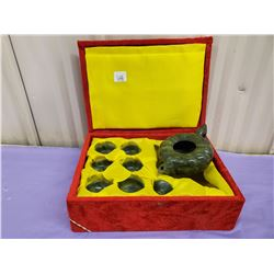 CHINESE JADE TEA POTS WITH CUPS- BOXED