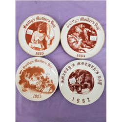 SET OF 4 VINTAGE SMITTY'S RESTAURANT MOTHERS DAY PLATES