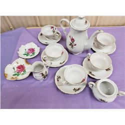 TEA SET WITH ROSES- CREAM AND SUGAR, CUPS AND SAUCERS