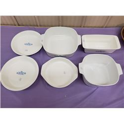LOT OF 6 CORNINGWARE DISHES/CASSEROLES