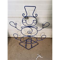 BLUE METAL SNOWMAN CHRISTMAS FIGURE
