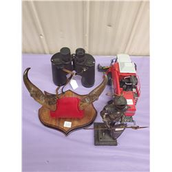 BOX OF MISC. COMBINE, BINOCULARS, KNIGHT FIGURE