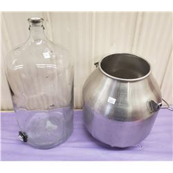GLASS CARBOID WITH STAINLESS STEEL MILK PAIL