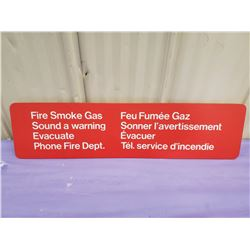 FIRE-SMOKE-GAS WARNING SIGN- PLASTIC