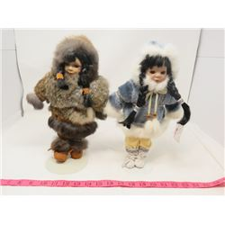 "LOT OF 2 DOLLS (TRADITIONAL ABORIGINAL CLOTHES) *REAL FUR AND LEATHER* (COME WITH STANDS) *13"" TALL*"