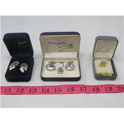 LOT OF JEWELRY (EARRINGS, CUFFLINK & TIE PIN SET & PENDANT 'SPECIAL')