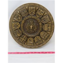"R.C.M.P. COMMEMORATIVE PLAQUE (WOOD) *1873-1973* (PROVINCIAL FLAGS) *13.25"" DIAMETER X 1.5"" DEEP*"