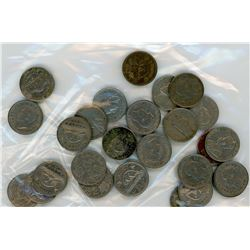 LOT OF 27-FIVE CENT COINS (VARIOUS YEARS BETWEEN 1928-1960'S)