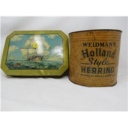 LOT OF 2 TINS AND BUTTONS (ONE TIN COMPLETELY FULL OF BUTTONS)