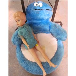 COOKIE MONSTER CHILDS CHAIR AND PLASTIC DOLL (CIRCA 1974)