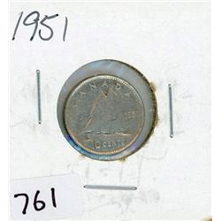 TEN CENT COIN (CANADA) *1951* (SILVER)